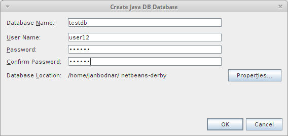 Create Java DB Database dialog
