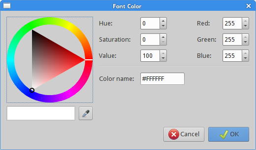 GtkColorSelectionDialog