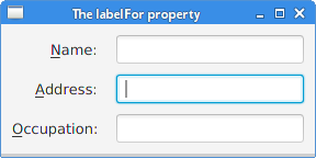 The labelFor property