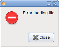Error message dialog