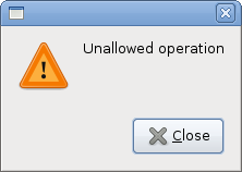 Warning message dialog