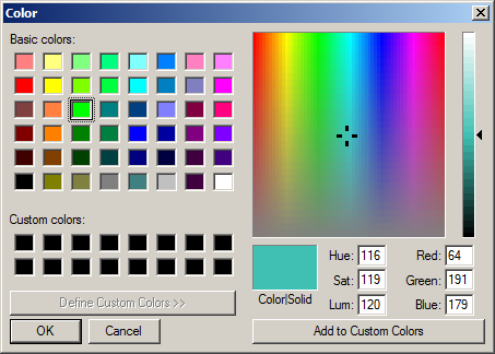 Color dialog box