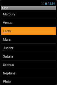 Selected row of a ListView widget